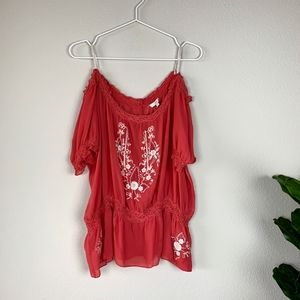 Joie Wn's Coral Embroidered top Sz M